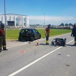 Grave incidente in moto a Mornico Elisoccorso in azione e strada chiusa