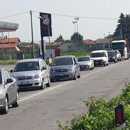 Curno, incidente con mezzo pesante Traffico in tilt sulla Villa D'Almè-Dalmine