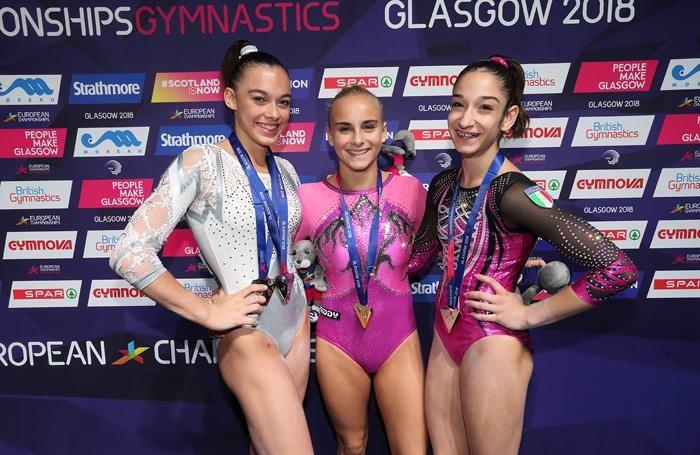Europei di ginnastica 2018. Le azzurre a medaglia: da sinistra Giorgia Villa, Asia D'Amato ed Elisa Iorio
