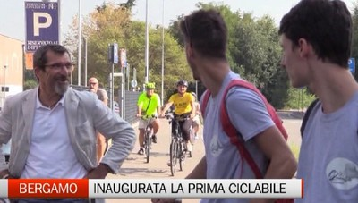 Inaugurata la nuova ciclabile di Bergamo.