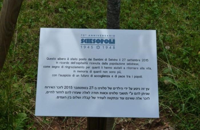 La targa in memoria degli 800 bambini ebrei di Sciesopoli