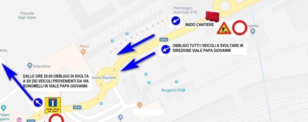 Bergamo, si asfalta via Bono Strada chiusa tra giovedì e venerdì