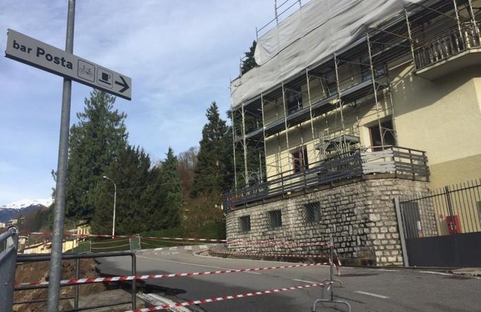 La sede della Protezione Civile di Piazza Brembana sgomberata