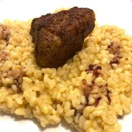 Risotto alla salsiccia, porri e parmigiano