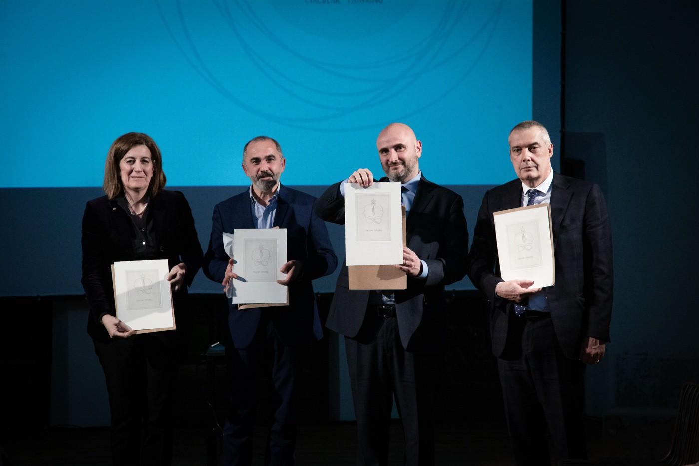 Da sinistra, Chiara Ferraris (RadiciGroup), Valerio Rubin (Vanoncini), Lorenzo Colombo (Italcementi) e Fabio Gritti (Grifal)