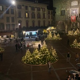 Piazza Vecchia wow, 6  isole di alberi e luci E in piazza Pontida è tornato papà orso