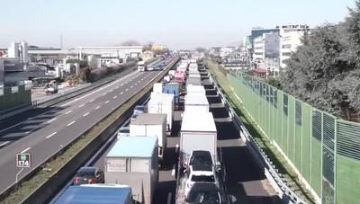 L'incidente sull'autostrada  A4 a Seriate