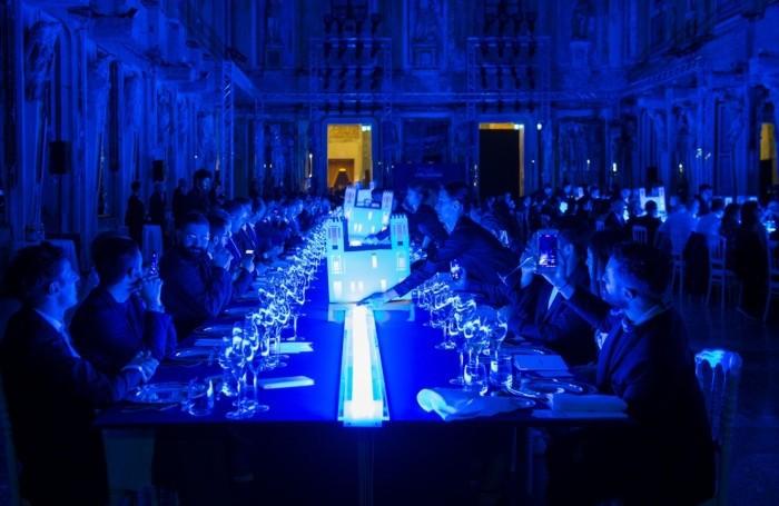 Le miniature del Casinò sulla tavola dell'evento per i 120 anni di Sanpellegrino a Palazzo Reale a Milano