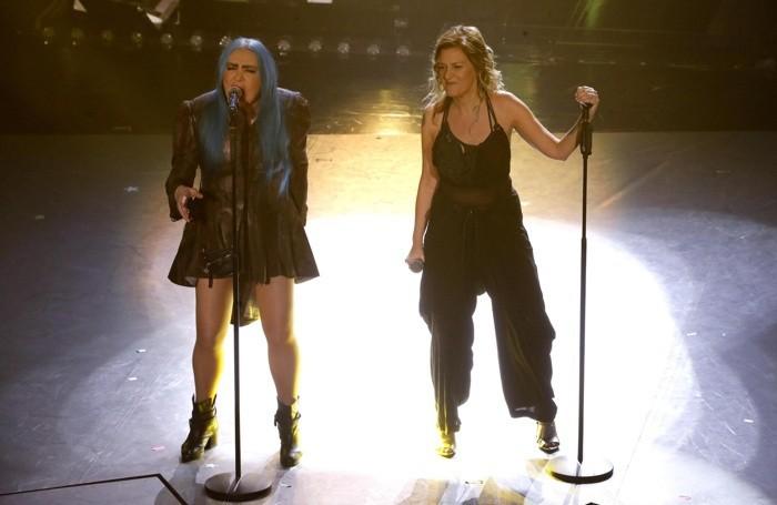Italian singers Loredana Berte' (L) and Irene Grandi