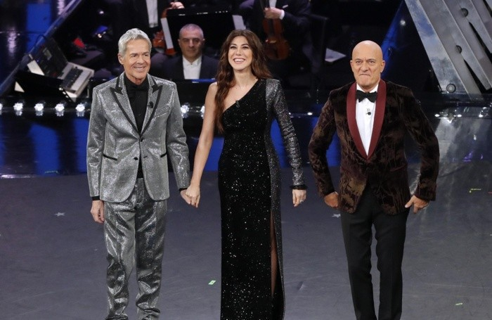 Italian singer and Sanremo Festival artistic director Claudio Baglioni (L), Italian actress Virginia Raffaele (C) and Italian actor Claudio Bisio (R) on stage at the Ariston theatre during the 69th Sanremo Italian Song Festival, Sanremo, Italy, 08 February 2019. The Festival runs from 05 to 09 February. ANSA/RICCARDO ANTIMIANI