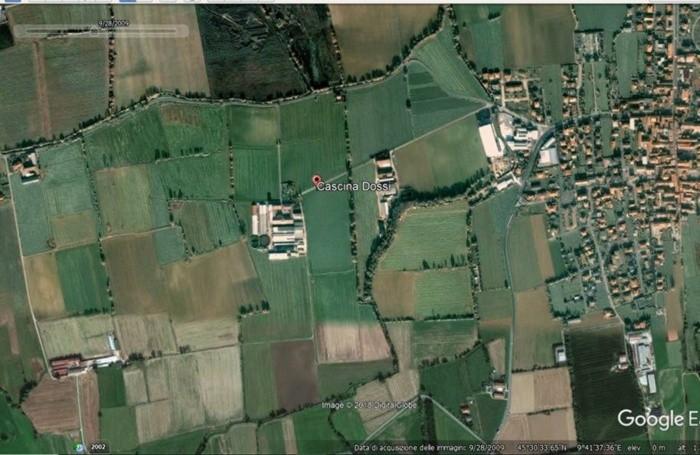 La situazione della Bassa Bergamasca nella zona Bariano-Caravaggio nel 2009 in uno scatto di Google Earth