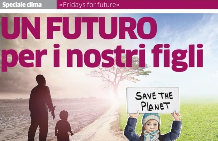 La copertina dell'inserto speciale sul clima che L'Eco di Bergamo pubblicherà giovedì 14
