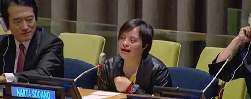 Sindrome di Down, Marta parla all'Onu «C'è sempre un modo per spiegare le cose»