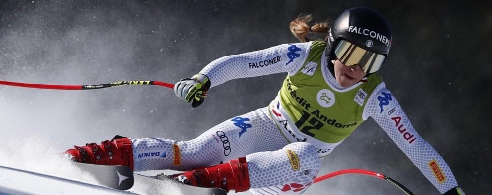 Fanchini, campionessa di discesa Per Sofia Goggia terzo posto sul podio