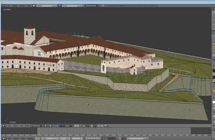 L'ex monastero di Sant'Agostino ricostruito al pc per inserirlo nel programma di volo con il simulatore