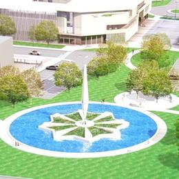 Un'area verde con la «fontana del missile» Ecco come sarà la nuova Zingonia