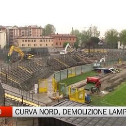 Stadio, demolizione lampo Curva Nord ormai abbattuta