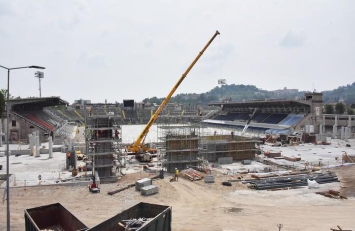 Il cantiere dello stadio