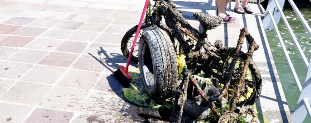 Biciclette, box doccia, barbecue Il fondale del lago come una discarica
