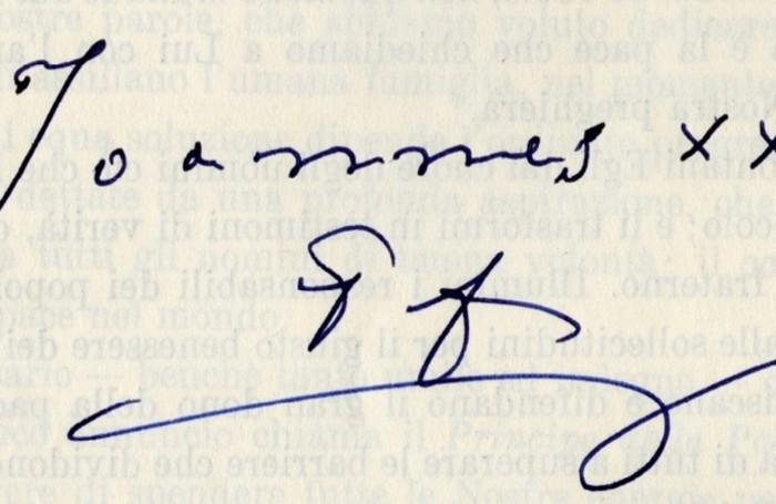 La firma di Papa Giovanni XXIII
