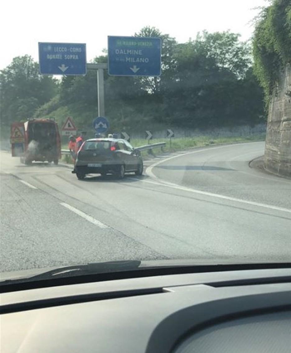 L'incidente in direzione Lecco