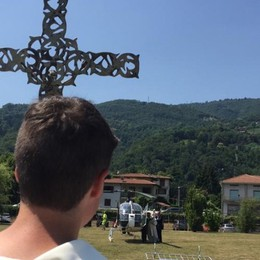 Madonna pellegrina di Fatima  «Sosta» a Spinone, arrivo in elicottero