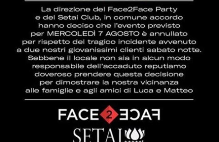 Il comunicato del «Setai» sulla loro pagina Facebook