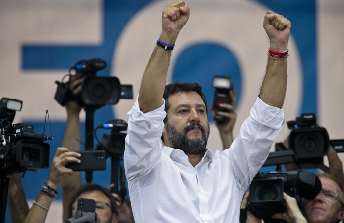 Leader of The League party, Matteo Salvini, (ANSA/AP Photo/Luca Bruno)