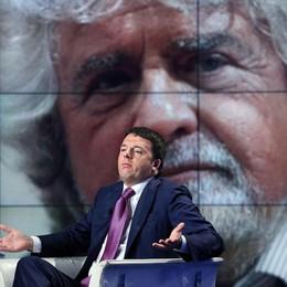 La scena ripresa da Grillo e Renzi