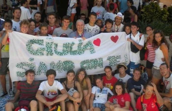 Lo striscione  dedicato a Giulia e che fu portato alla Gmg di Madrid