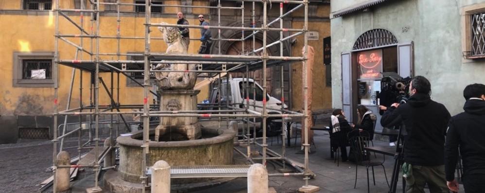 Dopo la vittoria del concorso - Foto Via al restauro della «Fontana del Delfino»