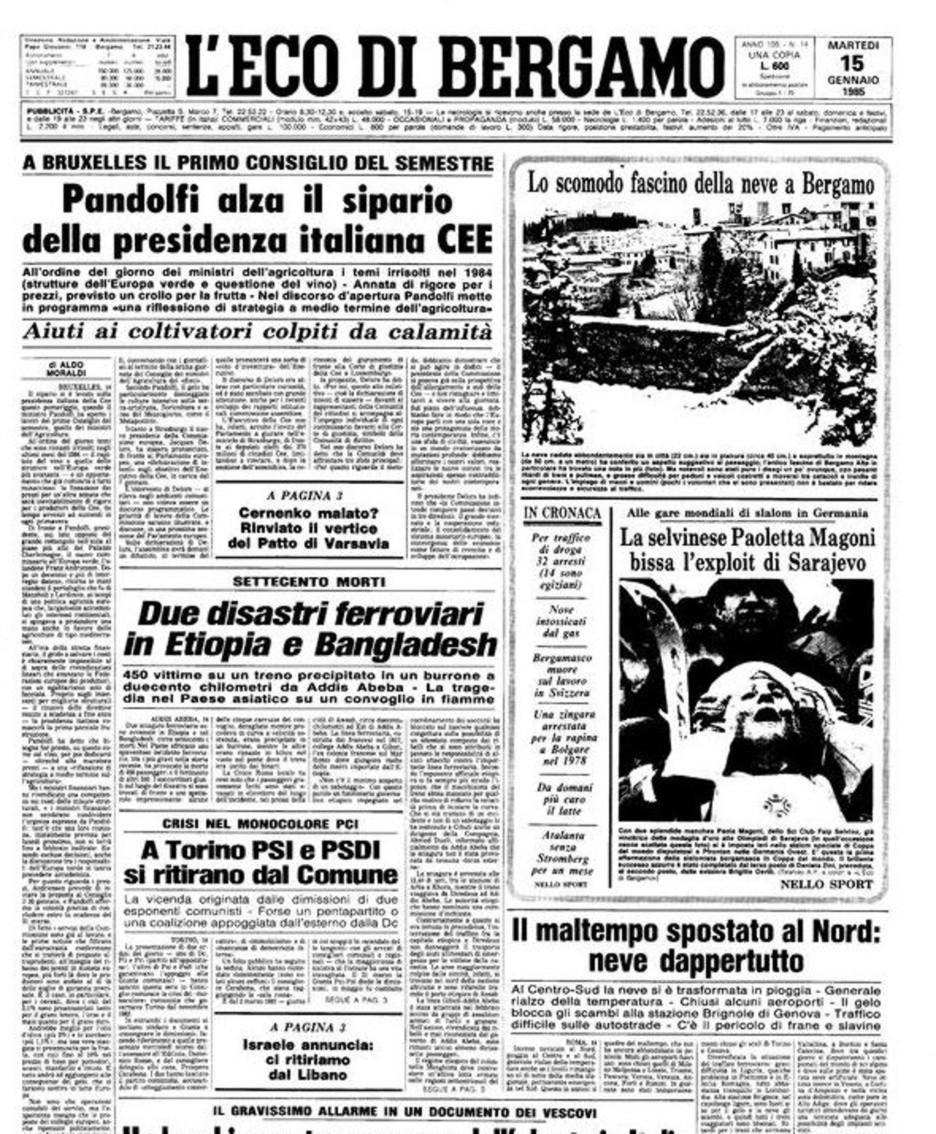 L'edizione del 15 gennaio 1985 de L'Eco di Bergamo