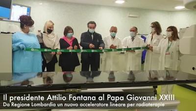Fontana inaugura l'acceleratore per radioterapie donato dalla Regione