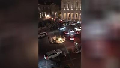La protesta dei taxi in Città Alta