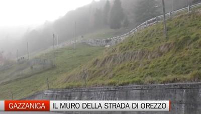 Orezzo, sistemato il muro pericolante della strada per Aviatico