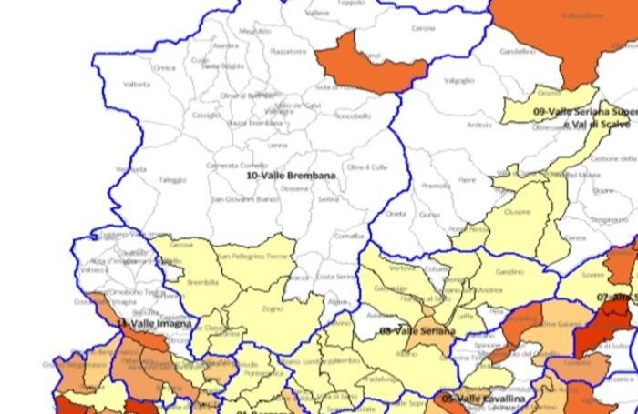 La mappa dei casi Covid di Ats Bergamo nella provincia di Bergamo per la settimana 25 novembre - 1 dicembre