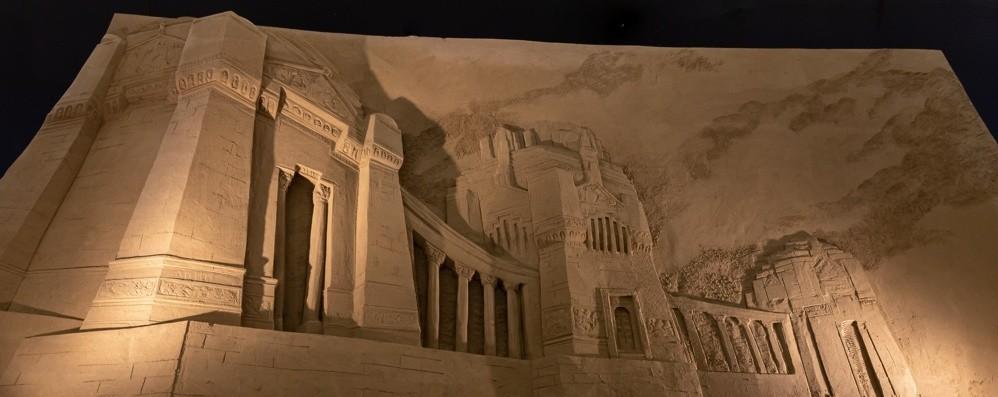 Bergamo nel presepe di sabbia L'omaggio di Lignano Sabbiadoro