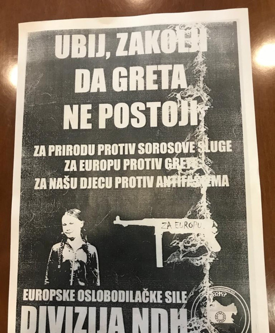 Il volantino contro Greta Thunberg