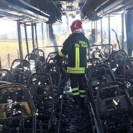 Zogno, autobus Sab prende fuoco - Foto Distrutto dalle fiamme, salvo l'autista
