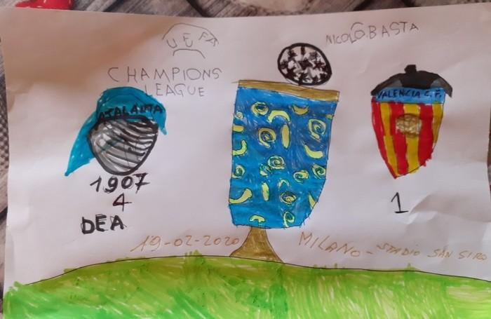 Un bel disegno di Nicolò Basta, 6 anni, per festeggiare la vittoria dell'Atalanta