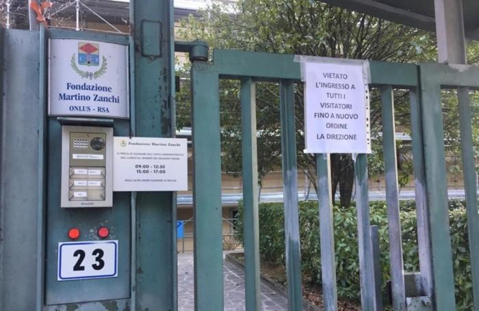 L'ingresso della casa di riposo di Alzano
