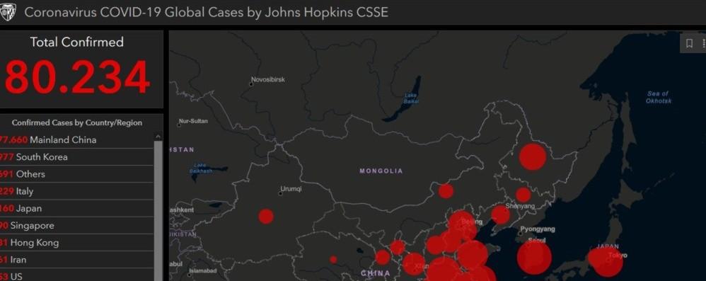 Sono 80.234 i contagiati nel mondo On line tutti i dati in tempo reale