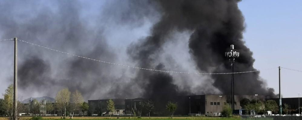 Calcinate, colonna di fumo da un'azienda Brucia capannone di rifiuti industriali -Foto