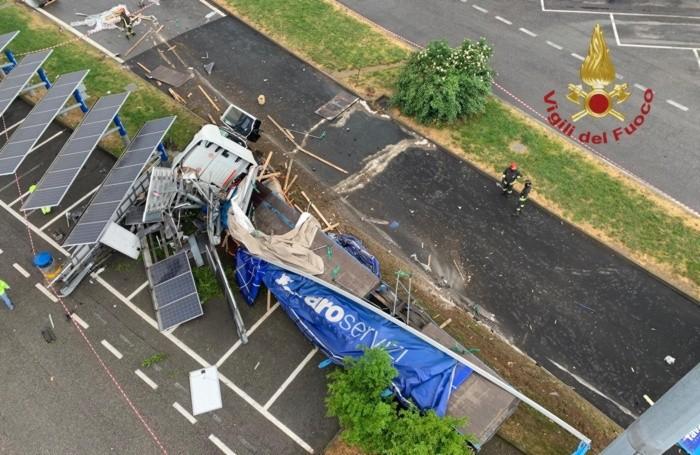 Una vista dall'alto dell'incidente