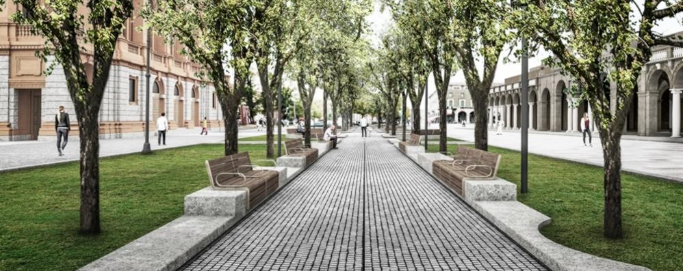 Un «salotto» accanto al Sentierone Nuova pavimentazione e più verde
