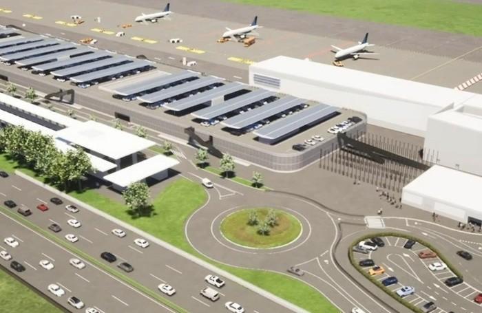 A sinistra la futura stazione ferroviaria, al confine con l'A4. In alto a destra ecco come sarà l'ampliamento direzione ovest