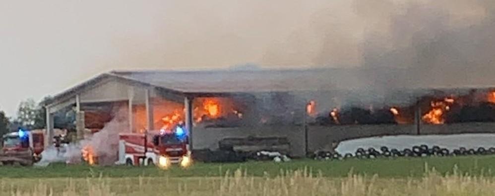 Brusaporto, fiamme in un'azienda agricola Bruciati oltre 1.500 quintali di fieno