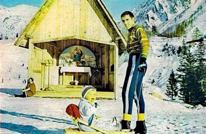 Adriano Celentano a Foppolo con la figlia, anni Sessanta (foto da Facebook)