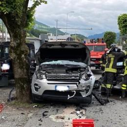 Gazzaniga, scontro tra due auto Feriti due uomini di 47 e 50 anni