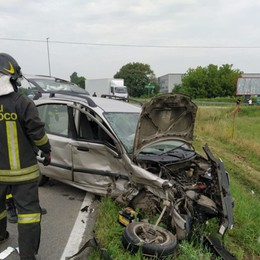 Incidente frontale a Caravaggio Grave 85enne, in ospedale con l'elisoccorso